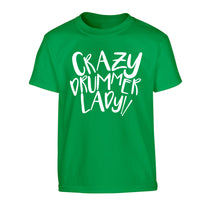 Crazy drummer lady Children's green Tshirt 12-14 Years