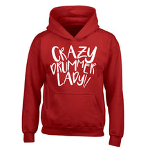 Crazy drummer lady children's red hoodie 12-14 Years