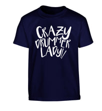 Crazy drummer lady Children's navy Tshirt 12-14 Years