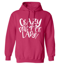 Crazy drummer lady adults unisex pink hoodie 2XL