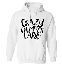 Crazy drummer lady adults unisex white hoodie 2XL