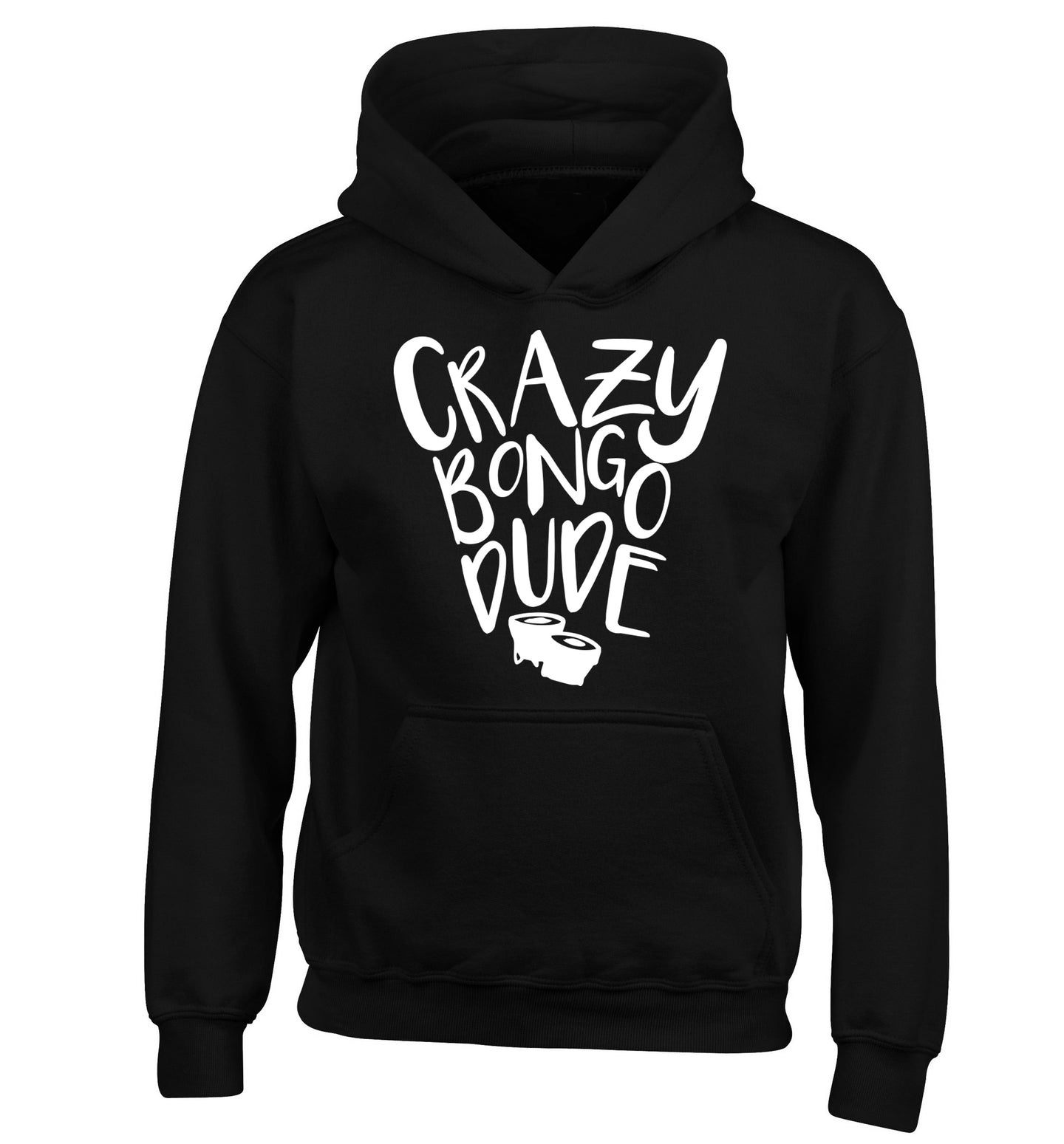 Crazy bongo dude children's black hoodie 12-14 Years