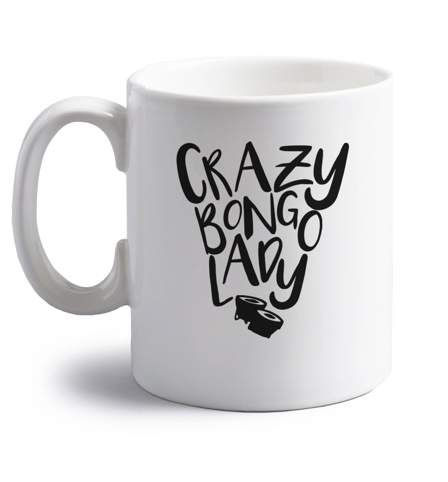 Crazy bongo lady right handed white ceramic mug