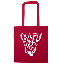 Crazy bongo lady red tote bag