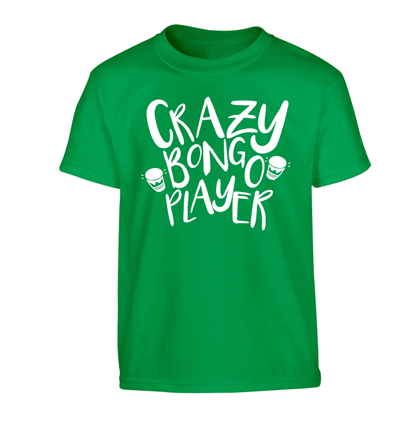 Crazy bongo player Children's green Tshirt 12-14 Years