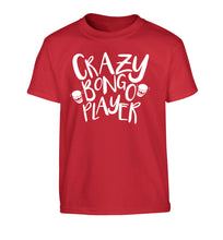 Crazy bongo player Children's red Tshirt 12-14 Years