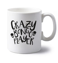 Crazy bongo player left handed white ceramic mug