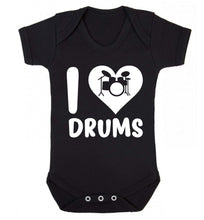 I love drums Baby Vest black 18-24 months