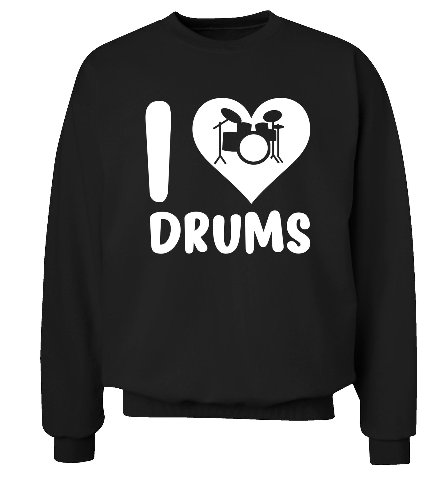 I love drums Adult's unisex black Sweater 2XL