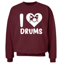 I love drums Adult's unisex maroon Sweater 2XL