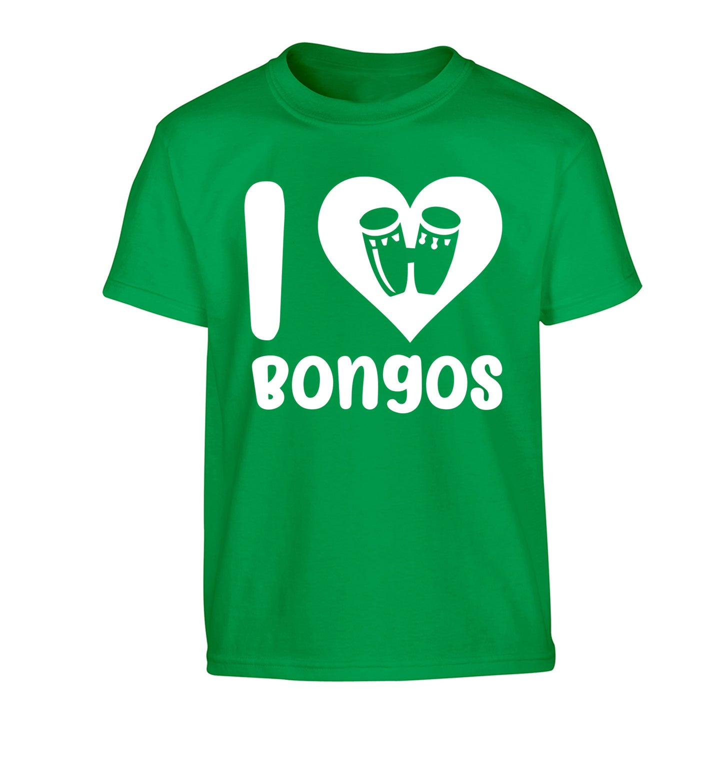 I love bongos Children's green Tshirt 12-14 Years