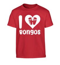 I love bongos Children's red Tshirt 12-14 Years