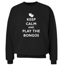 Keep calm and play the bongos Adult's unisex black Sweater 2XL