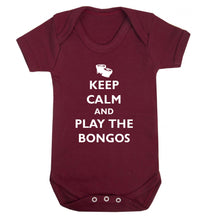 Keep calm and play the bongos Baby Vest maroon 18-24 months