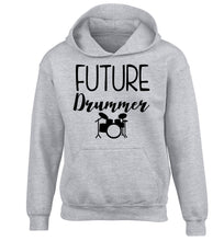 Future drummer children's grey hoodie 12-14 Years