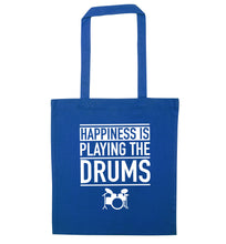 Happiness is playing the drums blue tote bag