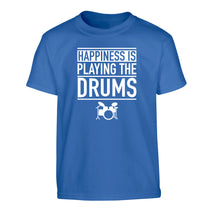 Happiness is playing the drums Children's blue Tshirt 12-14 Years