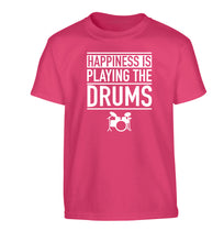 Happiness is playing the drums Children's pink Tshirt 12-14 Years