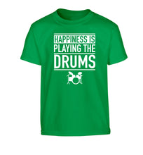 Happiness is playing the drums Children's green Tshirt 12-14 Years