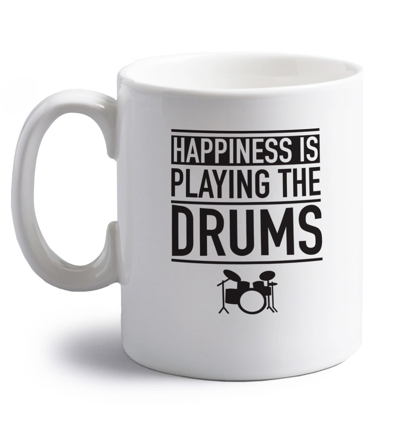 Happiness is playing the drums right handed white ceramic mug