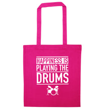 Happiness is playing the drums pink tote bag