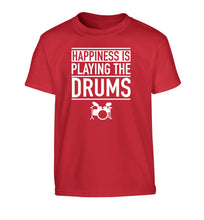 Happiness is playing the drums Children's red Tshirt 12-14 Years