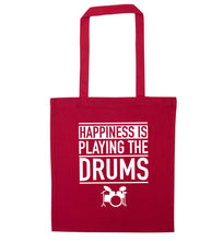 Happiness is playing the drums red tote bag