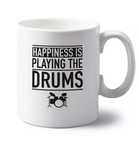 Happiness is playing the drums left handed white ceramic mug
