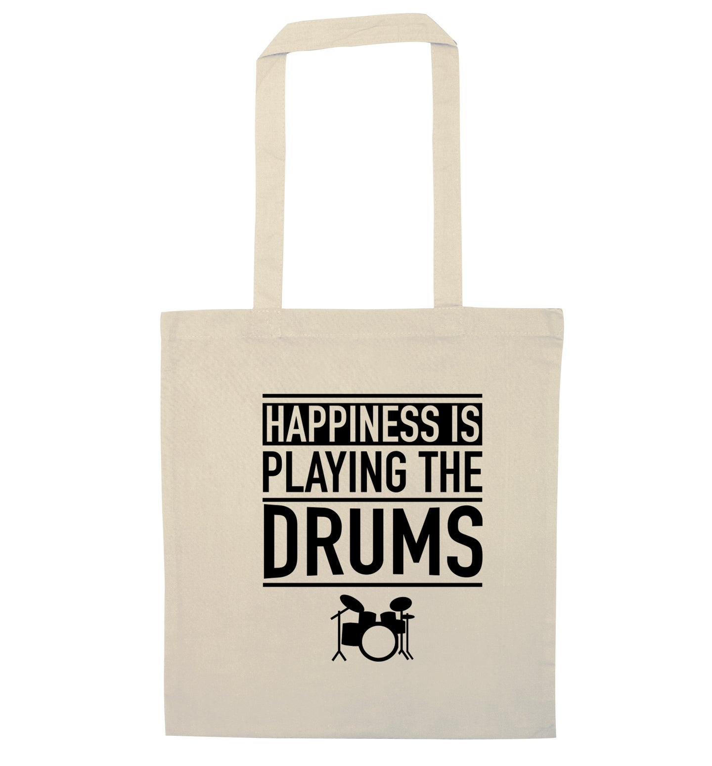 Happiness is playing the drums natural tote bag