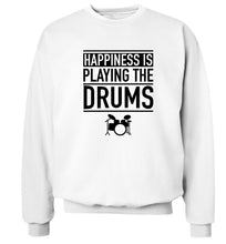 Happiness is playing the drums Adult's unisex white Sweater 2XL