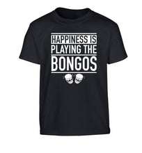 Happiness is playing the bongos Children's black Tshirt 12-14 Years