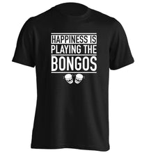 Happiness is playing the bongos adults unisex black Tshirt 2XL