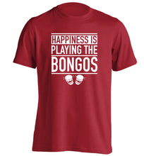 Happiness is playing the bongos adults unisex red Tshirt 2XL