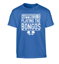 Happiness is playing the bongos Children's blue Tshirt 12-14 Years