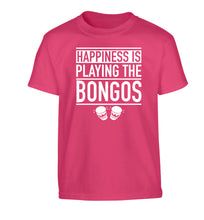 Happiness is playing the bongos Children's pink Tshirt 12-14 Years