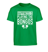 Happiness is playing the bongos Children's green Tshirt 12-14 Years