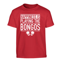 Happiness is playing the bongos Children's red Tshirt 12-14 Years