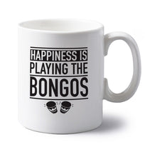 Happiness is playing the bongos left handed white ceramic mug