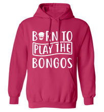 Born to play the bongos adults unisex pink hoodie 2XL