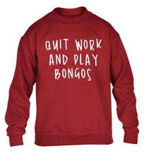 Quit work and play bongos children's grey sweater 12-14 Years