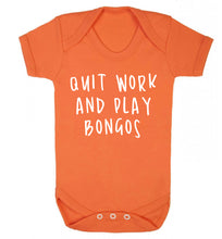 Quit work and play bongos Baby Vest orange 18-24 months