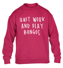 Quit work and play bongos children's pink sweater 12-14 Years