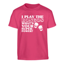 I play the bongos what's your superpower? Children's pink Tshirt 12-14 Years