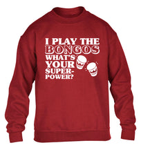 I play the bongos what's your superpower? children's grey sweater 12-14 Years