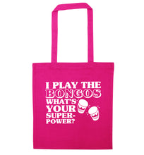 I play the bongos what's your superpower? pink tote bag