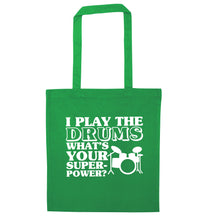 I play the drums what's your superpower? green tote bag