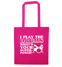 I play the drums what's your superpower? pink tote bag