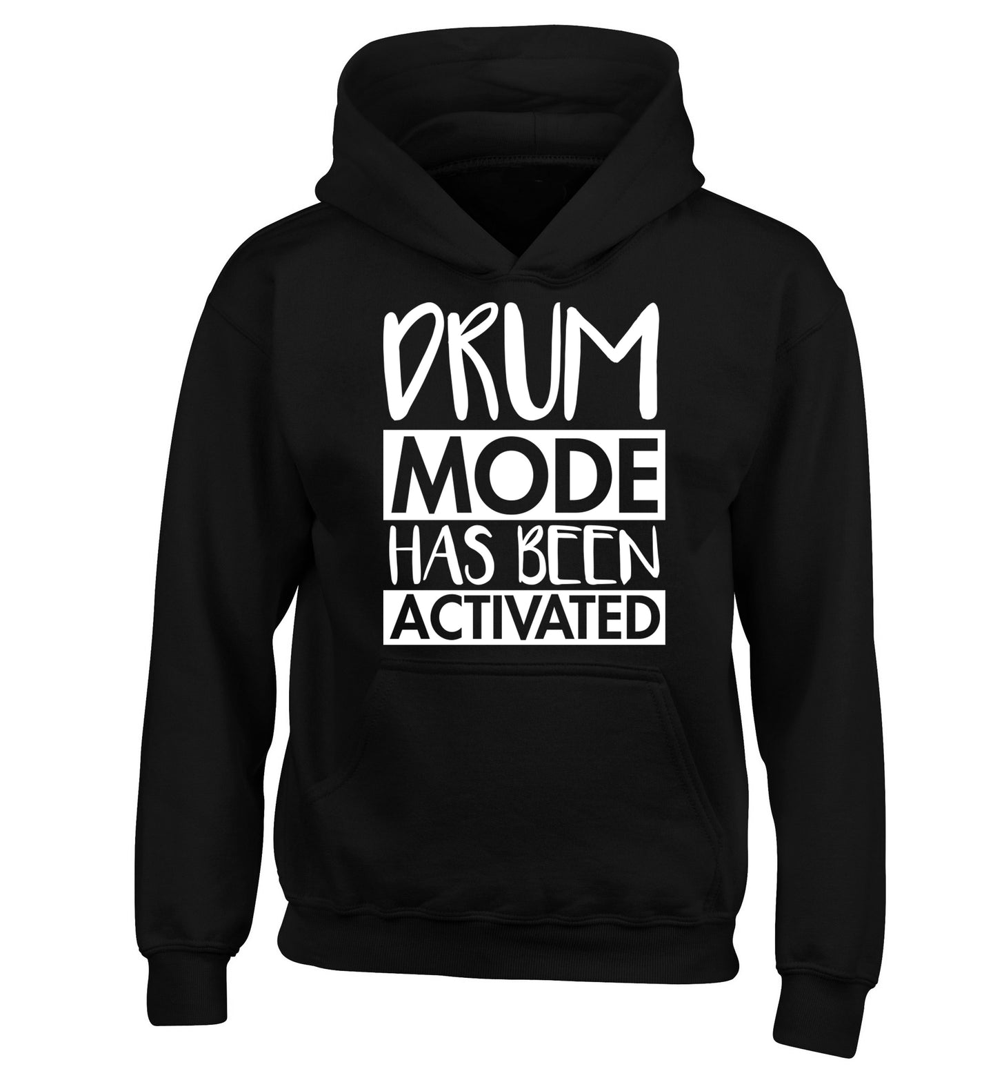 Drum mode activated children's black hoodie 12-14 Years