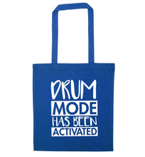 Drum mode activated blue tote bag
