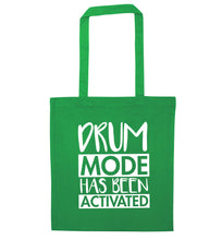Drum mode activated green tote bag